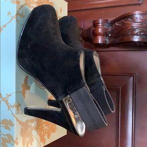 Jessica Simpson black suede open bk booties.Sz 7.5